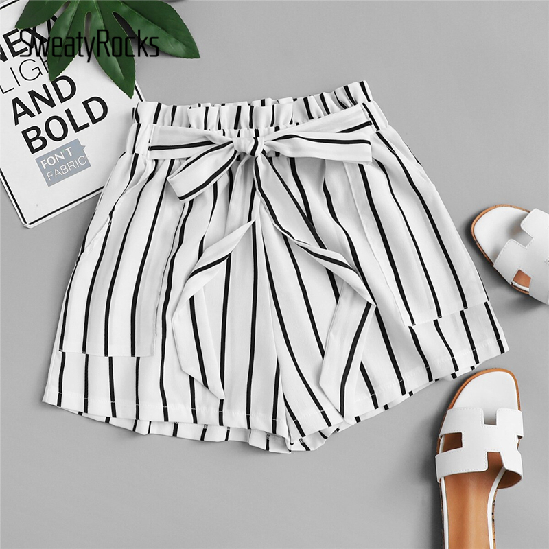 SweatyRocks Striped Frill Trim Tie Waist Paperbag Shorts Women Active Wear 2019 Casual Shorts Womens Athleisure Summer Shorts