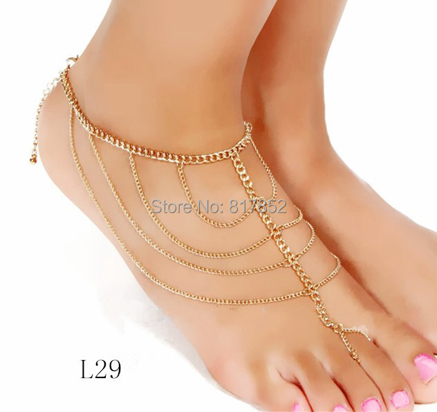 FREE SHIPPING STYLE L29 FASHION WOMEN ANKLETS CHAIN JEWELRY GOLD CHAINS JEWELRY