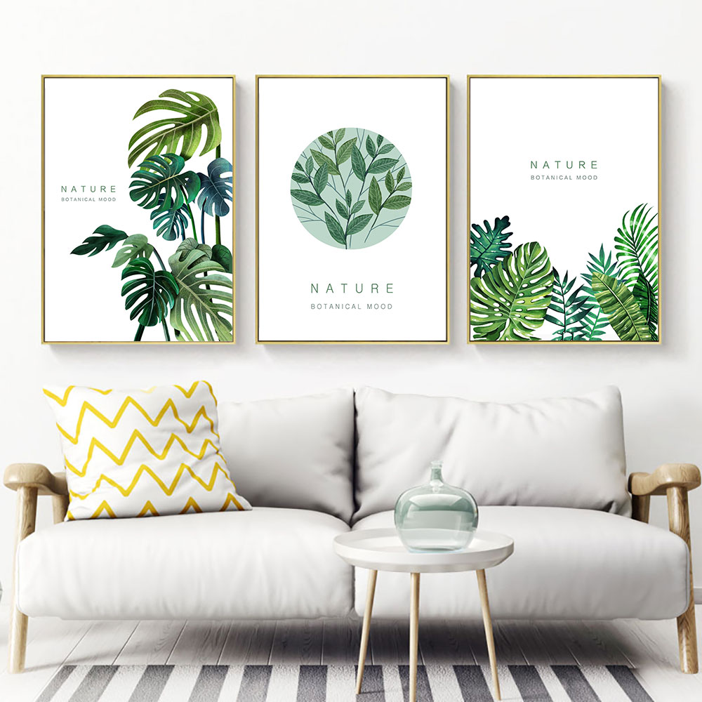 Monstera Leaf Print Canvas Painting Plant Poster Nordic Prints Green Plants Leaves Picture Unframed