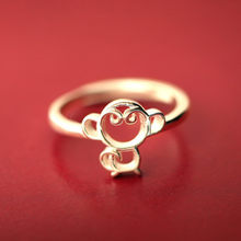 2019 hot Female Creative Silver Plated Ring Jewelry Gold Color Monkey Rings Young Girl Gift Cheap Cute Animal Ring(China)