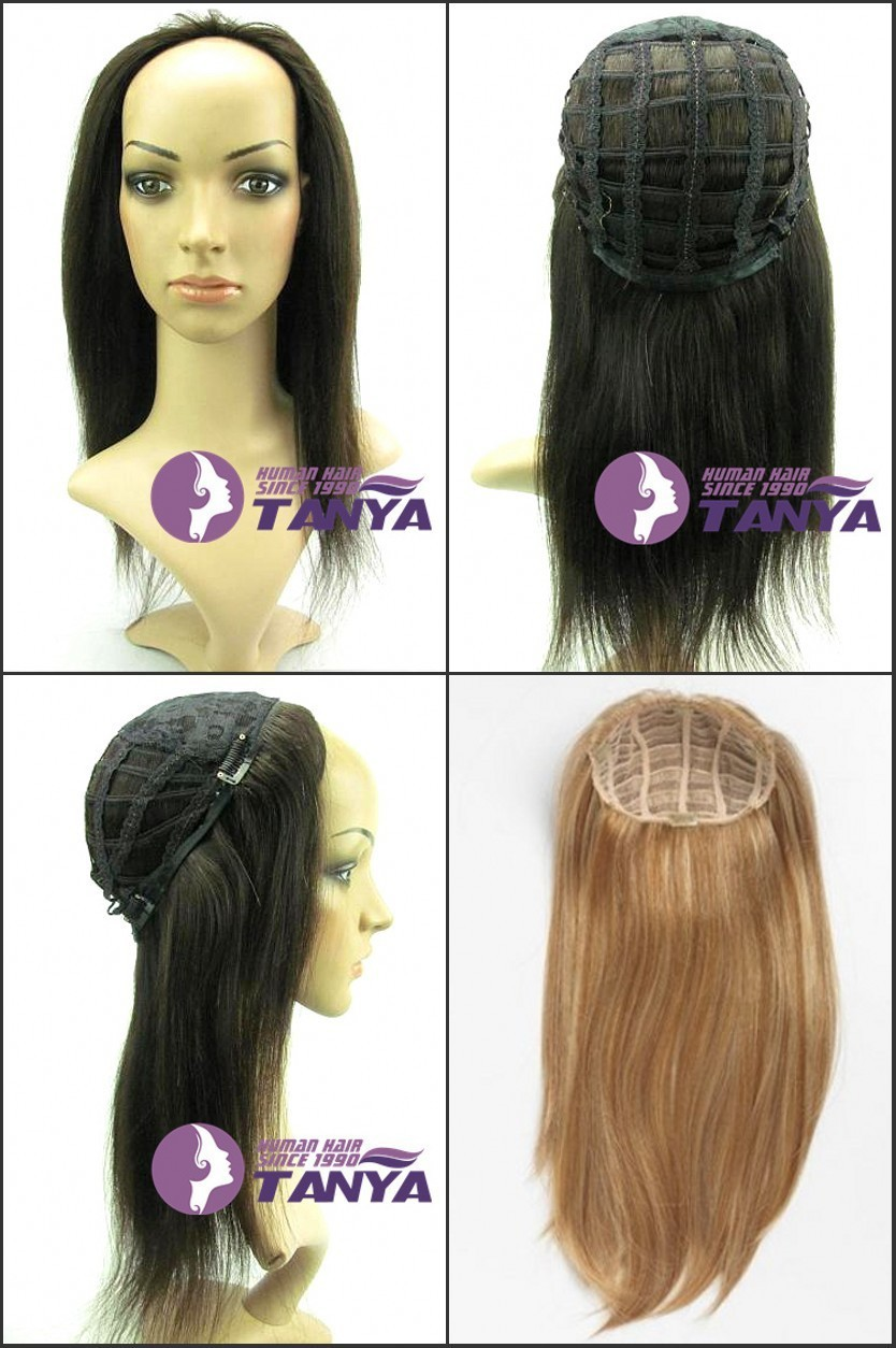 Indian Remy Human Hair Glueless Half Head 3 4 Wig Holiday