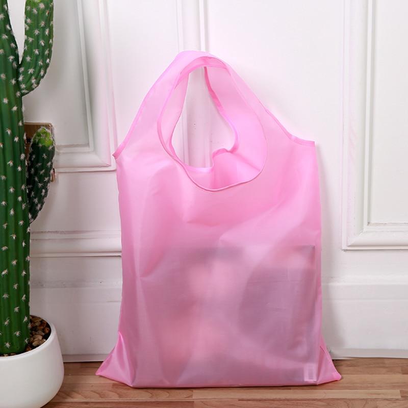 Solid Style Reusable Portable Shoulder Handbag Polyester foldable green shopping bag Tote Folding pouch handbags