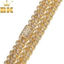 O bling king luxo iced zircônia cúbica miami ligação cubana corrente colares hiphop sqaure cz moda qualidade superior jóias correntes