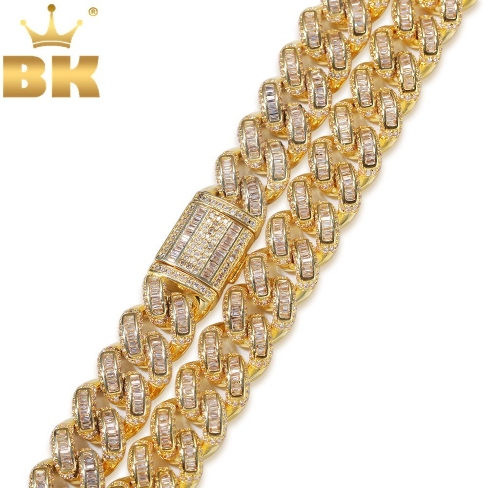 THE BLING KING Luxury Iced Cubic Zirconia Miami Cuban Link Chain  Necklaces Hiphop Sqaure CZ Fashion Top Quality Jewelry ChainsChain  Necklaces