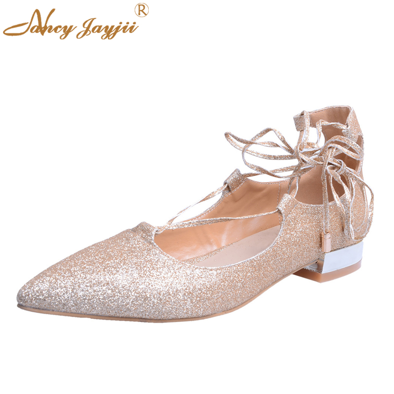Flat-Bottomed Shoes Gold Satin Footwear Point Toe Lace up Flats Heel Women's Shoes Woman Casual&Dress&Ourdoor Nancyjayjii Plus