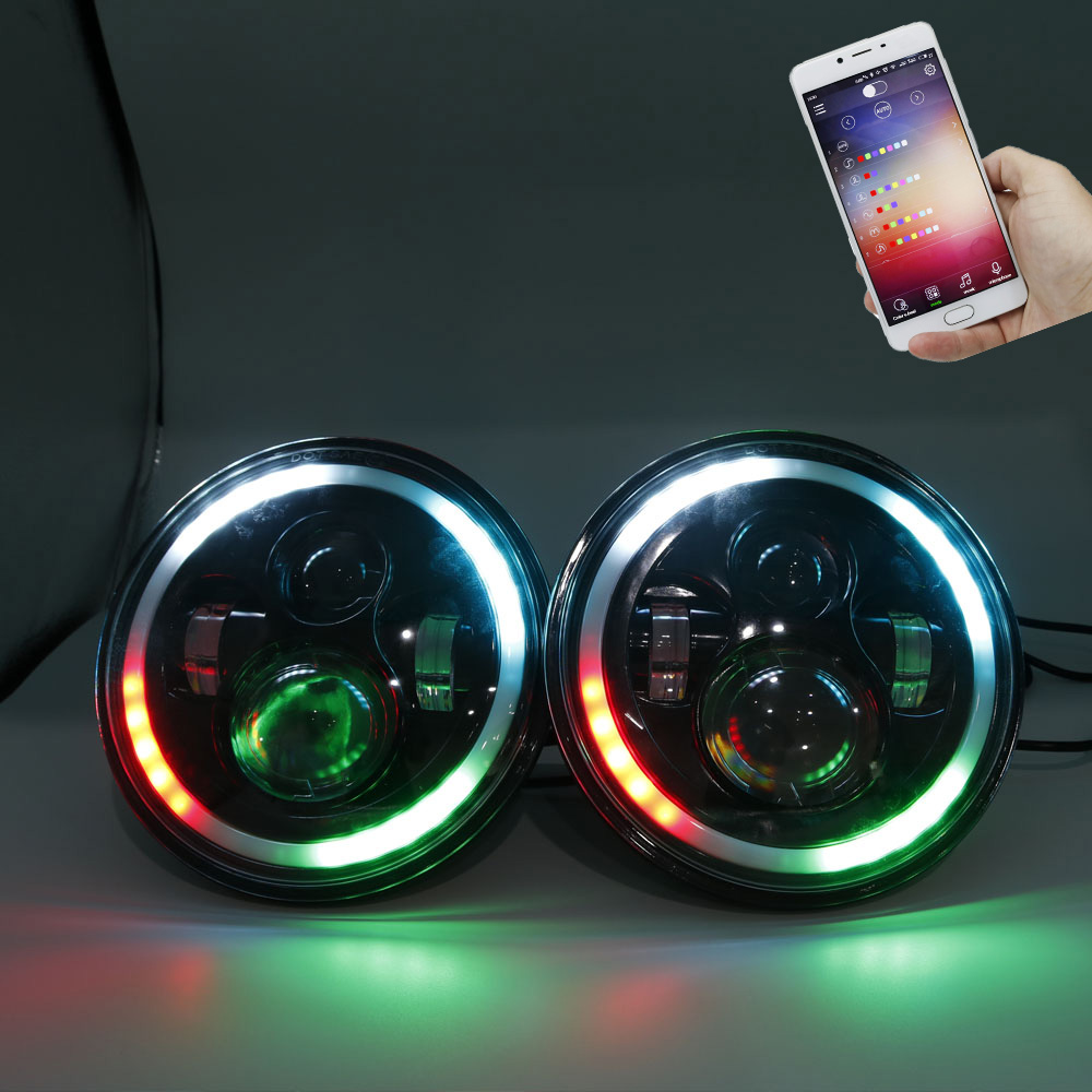Black 7 LED Headlight Bulb RGB Halo Angel Eye Bluetooth Remote APP Control for Jeep Wrangler