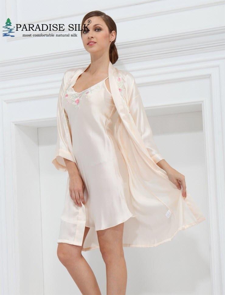 Women's Robe 2Pcs 100% Pure Silk Gown Set Long Robe Set Size M L XL