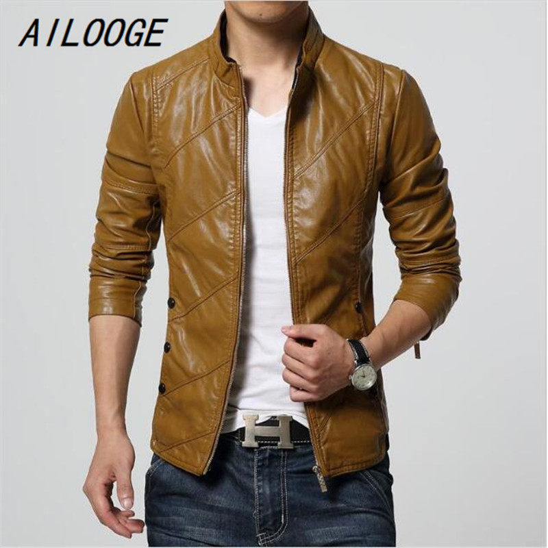 AILOOGE New Fashion PU Leather Jacket Men Black Red Brown Solid Mens Faux Fur Coats Trend Slim Fit Youth Motorcycle Suede Jacket