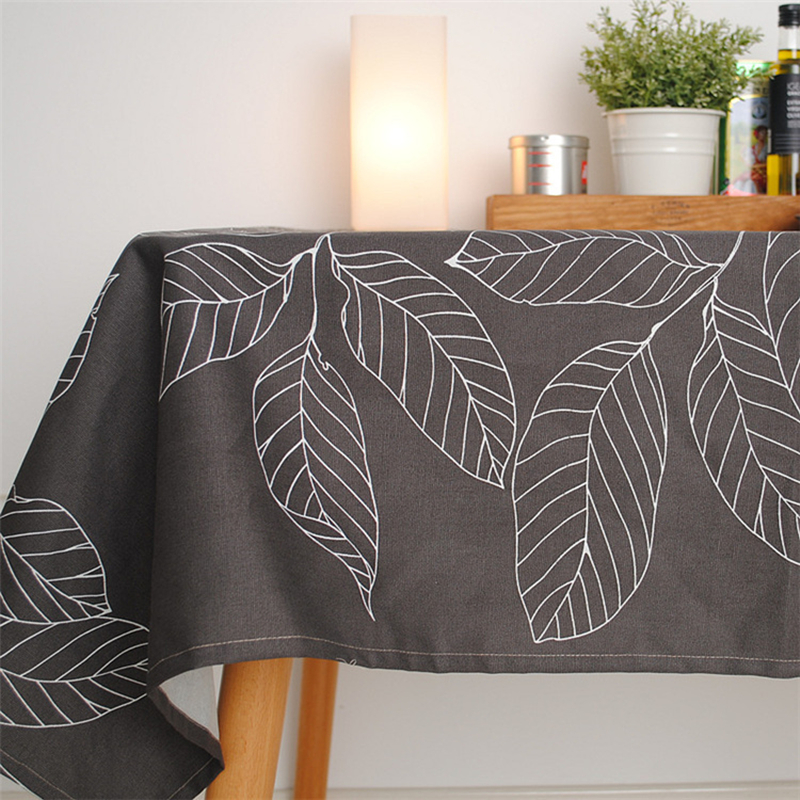 New Arrival Fashion Tablecloth Coffee Leave Print Gray table cloth Cover Towel Cotton Accept Customized 140 180cm in Tablecloths from Home Garden