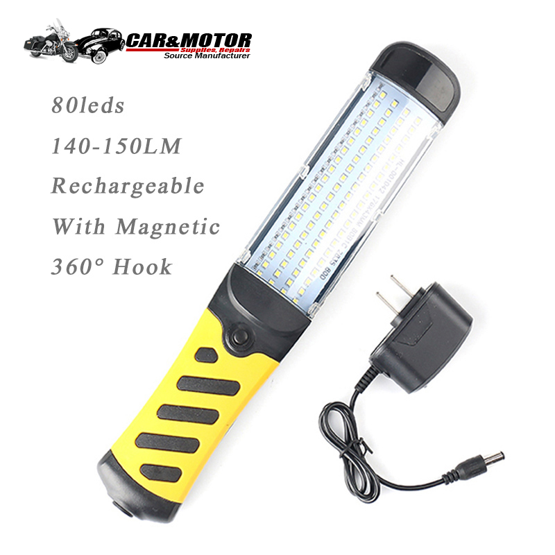 80 Leds Work Light LED Rechargeable Flashlight Magnetic Hook Lamp Work Lamp Torch Hand Lamp Night Light Car Repair Inspection