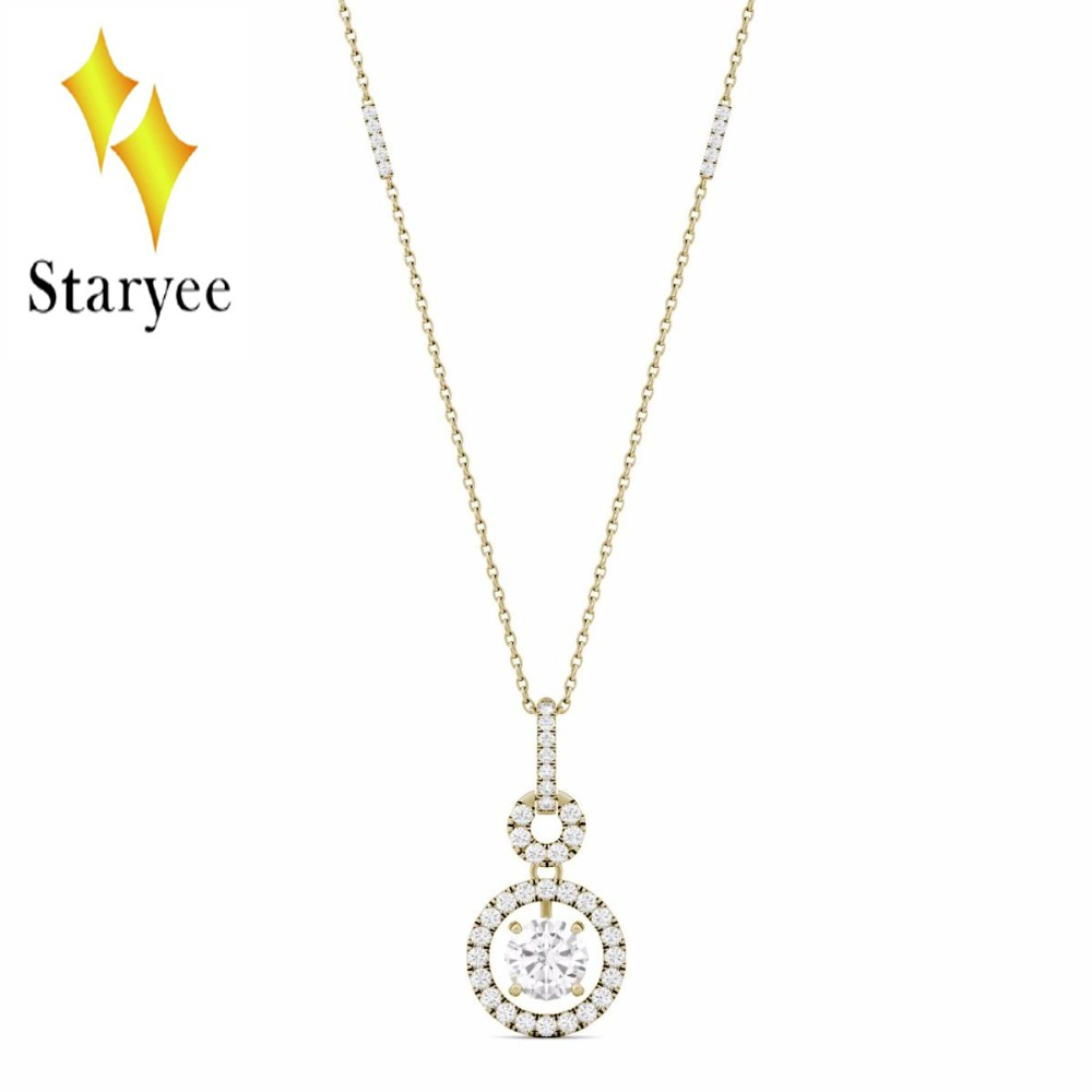 Fashion Female Super Round Moissanite Halo Chain Lab Diamond Pendant Necklace Elegant Jewelry 18K Yellow Gold 18k 750 white gold pendant gh color round lab grown moissanite double heart necklace diamond pendant necklace for women jewelry