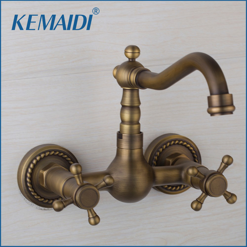 KEMAIDI Bathroom& Kitchen Basin Sink Taps Single Hole Faucets Basin Sink Faucet 360 Swivel Spout Antique Brass Mixer Faucet 2 hole deck mounted 360 swivel spout bathroom basin faucet antique brass dual cross handles kitchen sink mixer taps wnf036