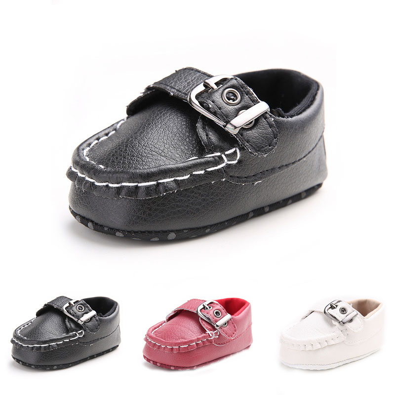 High Quality Pu Material Baby Shoes New Design Fashion First Baby Boy Shoes Non-slip Buckle Strap First Walker Factory Price