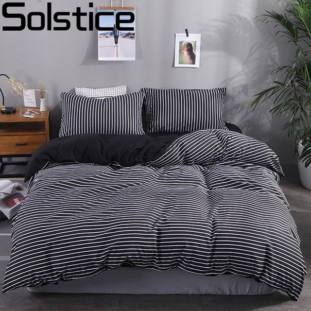 Solstice Stripe Washed Classic Black Stripes Bedding Kit Luxury Bedding Sets Duvet Cover Flat Bed Sheet Pillow Cases Bed Linings