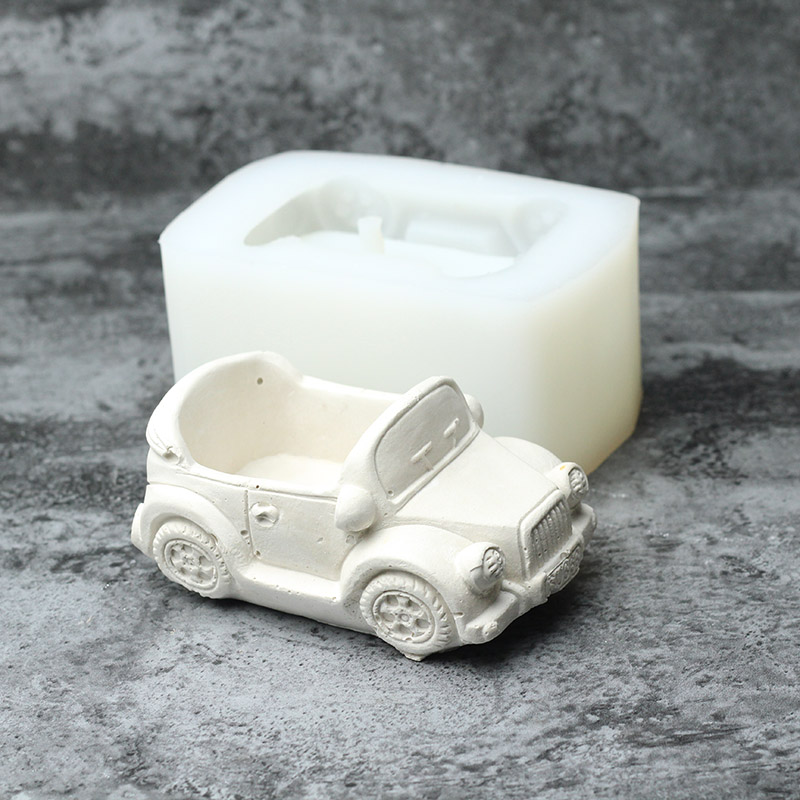 Nicole Silicone Cement Mold For Handmade Flowerpot Cartoon Cars Shape Concrete Mould