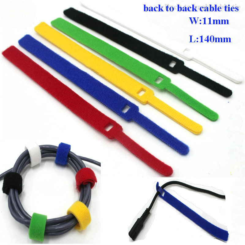 60pcs 11*140mm 6colors Wholesale Nylon Reusable Cable Ties back to back cable tie nylon strap Tape hook loop fastener management цена 2017