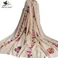 [Marte y Joven] Floral Bufandas Bordadas y Abrigo para Las Mujeres Primavera Aautumn Estilo Étnico de La Flor bufandas de Playa Suave chales