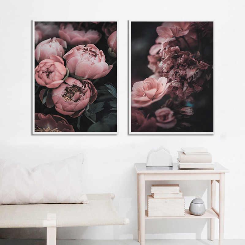Пион розы холст скандинавский плакат ботанический скандинавский стиль печать настенная живопись украшение картина для гостиной