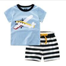 Funfeliz Summer Boys Clothes set Cotton Baby Boy Clothing set Casual Short Sleeve Boys Set Cartoon Striped Kids tracksuit 2T-10T