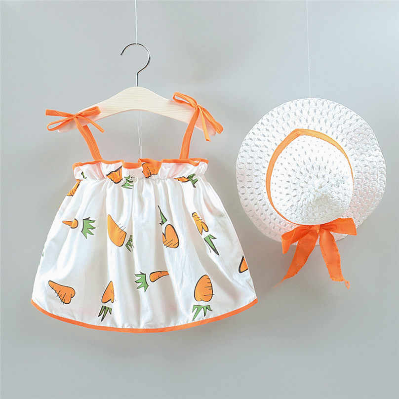 Baby Girls Summer Clothes Sets 2019 Toddler Girl Carrot Dress + Bow hat Baby Clothing Kids Set Hawaiian Party Decor Dress L13
