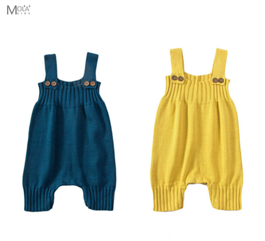 BOBO CHOSES Baby Knitting Romper Cute Warm Baby Jumpsuit For Newborn Baby Boy Clothes Cotton Kids Rompers Infant Yellow Overall