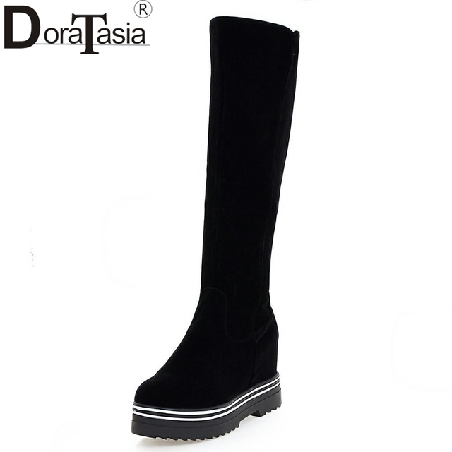 DORATASIA Brand New Solid Round Toe Top Quality Increasing Platform Shoes Woman Casual Winter Boots Black Big Size 34-43