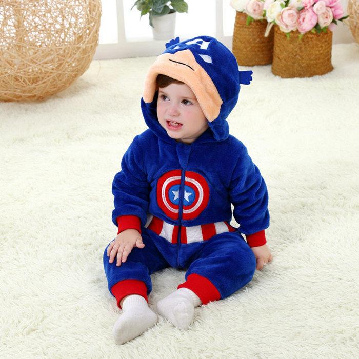 Baby   Rompers   Boy & Girl Halloween Costume Infant Autumn Winter Nightwear Cartoon Marvel Hero Clothes Toddler Homewear