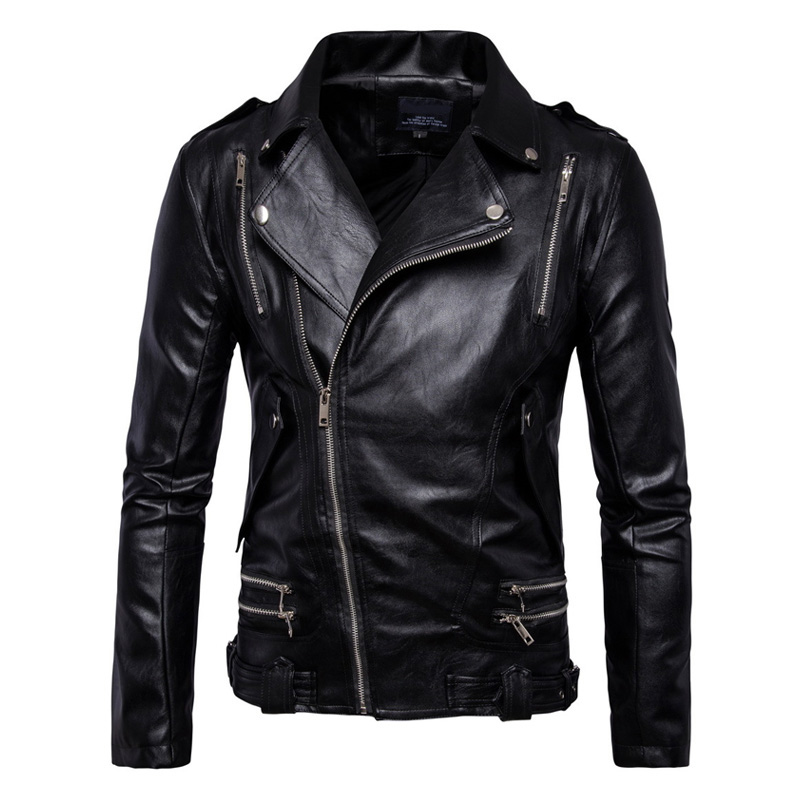 New Retro Vintage Motorcycle Jacket Mens Spring Autumn PU Leather Sash Zipper Biker Punk Classic Turn Down Collar Size M-5XL цена 2017