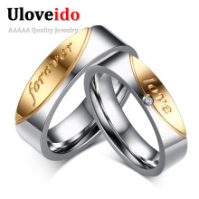 1 Pair Gift for Men Women Love Forever Couple Ring of Steel Cubic Zirconia Jewelry Super