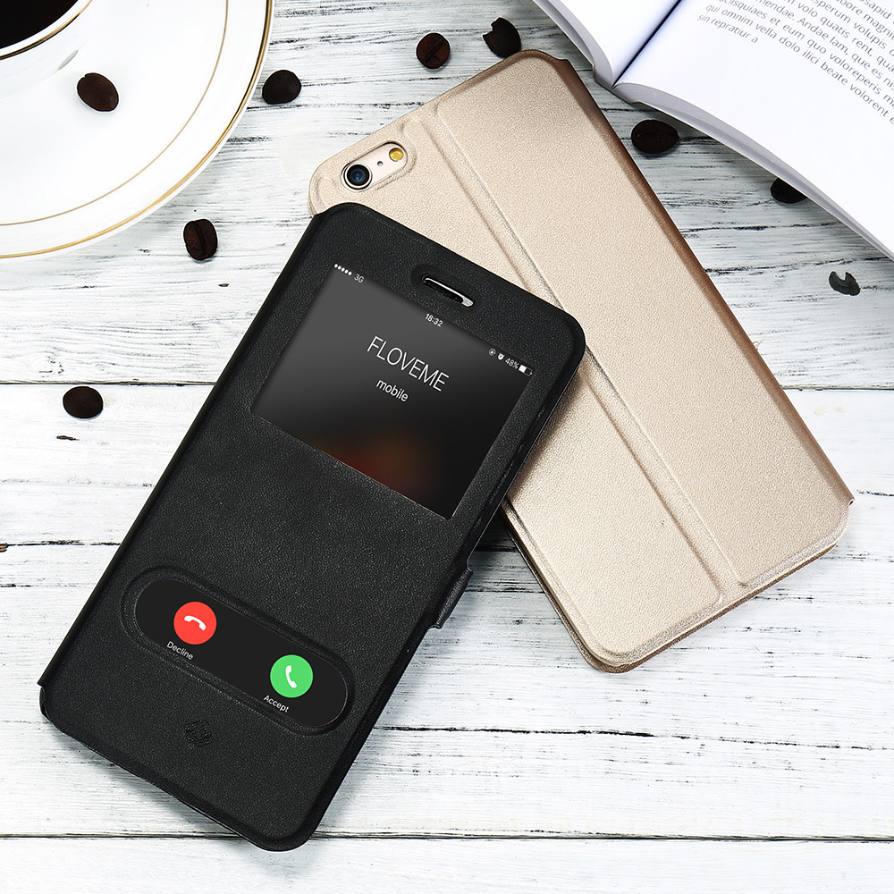 KISSCASE Smart Window View Case For iPhone 5 5S SE 6S Magnetic Double Smart Answer Leather Flip Cases For iPhone 6 6S 7 8 Plus