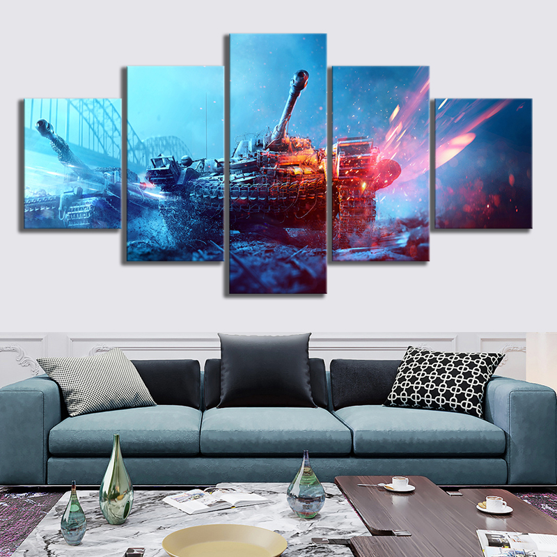 Home Decor Modular Canvas Picture 5 Piece Battlefield 5 Game Painting Poster Wall For Home Canvas Painting Wholesale in Painting Calligraphy from Home Garden