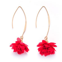 2018 Handmade Flower Hanging Earrings Long Gold Color Metal Thread Dangle Drop Earrings for Women Statement Jewelry Accessories(China)