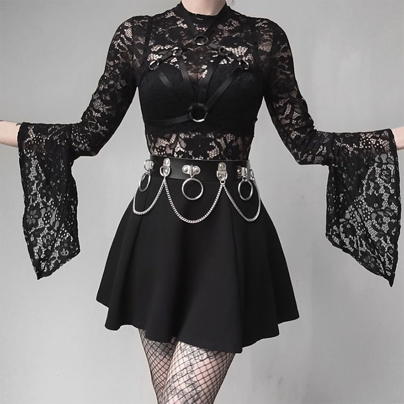 HTB1PPkwXRWD3KVjSZKPq6yp7FXao - Women 2 Piece Set Gothic Black Sexy Lace Body Bodysuit Pleated Skirts Two Piece Sets Lace Up See Through Clubwear Girl Sets