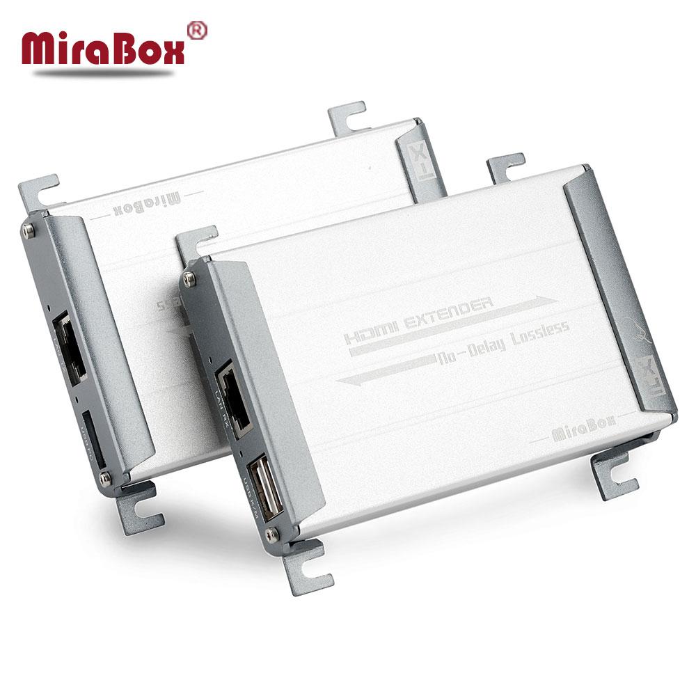 HSV560 MiraBox HDMI KVM USB Rallonge 80 m Point à Point avec Vidéo Sans Perte et Sans Temps de Latence plus UTP cat5/5e/Cat6 Rj45 LAN