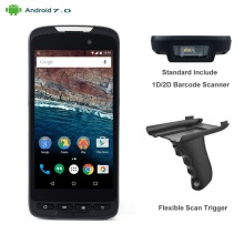 High Quality 5″ Mobile Wireless 4G WIFI Android 7.0 Handheld 1D 2D Barcode Scanner with Pistol Grip Carry Case Charging Cradle