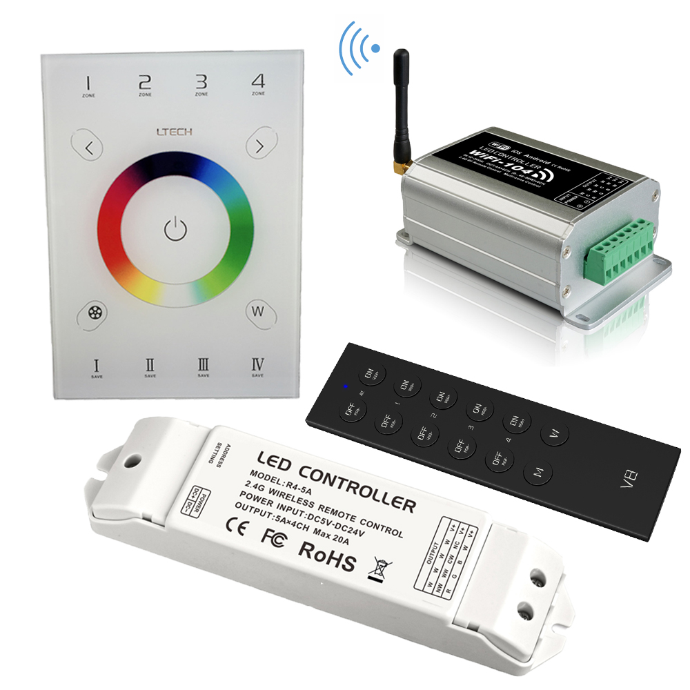 new ltech led wifi rgb controller wifi 104 ux8 touch panel rgb controller v8 remote and cv cc wireless receiver r4 5a r4 cc New UX8 Touch Panel Led RGB RGBW Controller 4 zone wifi-104 Wifi Dimming RGB controller V8 remote wireless receiver R4-5A R4-CC