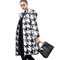 Новинка зимы черный, белый цвет длинная парка гончая stooth Подпушка хлопковая куртка Хаундстут внешний Слои утолщение Для женщин пальто с кап