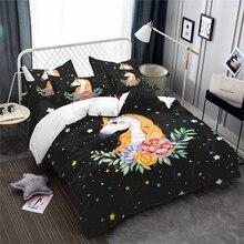 Dreamlike Cartoon Unicorn Bedding Set Colorful Stars Duvet Cover Floral Girls Sweet Bedclothes Bedroom Decor 3Pcs