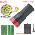 9 х CREE XM L2 U2 светодиодный фонарик 18650 водонепроницаемый 9L2 факел 18000LM + аккумуляторная 4 шт. 18650 + зарядное устройство