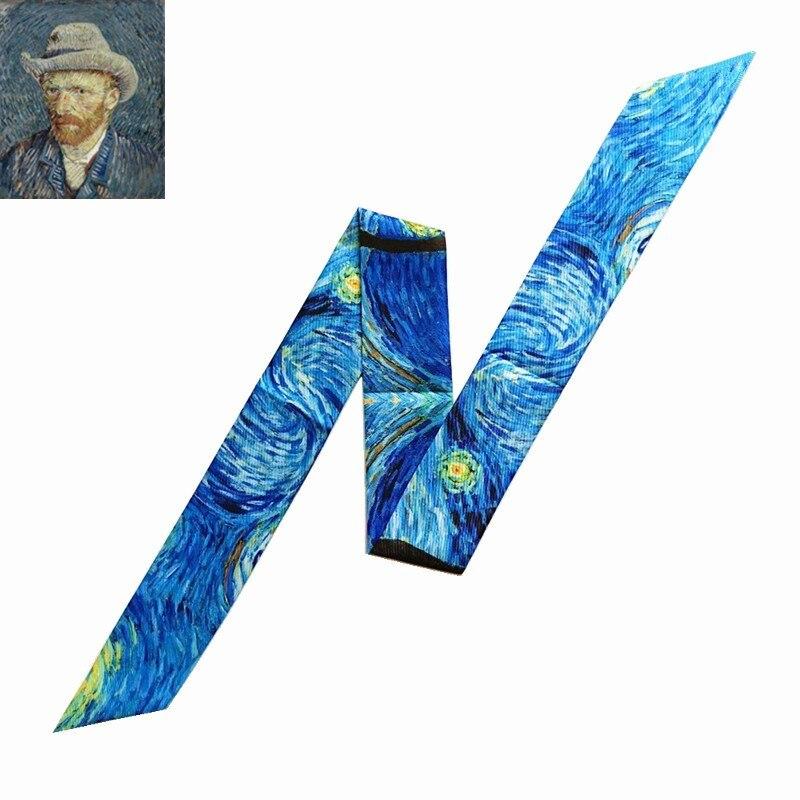 Van Gogh Oil Painting Bag Scarves 2020 New Design Silk Scarf Women Skinny Scarves For Ladies Multi-function Head Scarf Kerchief