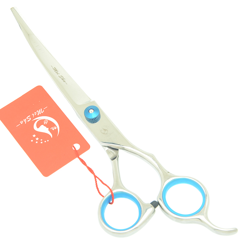7 quot Stainless Steel Pet Grooming Scissors Animal Straight Cutting Scissors Thinning Shears Up Curved Tesoura Pet Clipper HB0036 in Dog Scissors from Home amp Garden