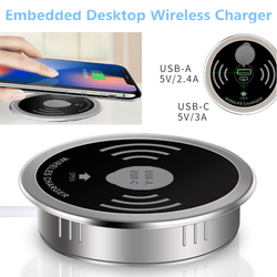 Desktop Wireless Charger for iPhone XS Max XR X USB-A Type-C 15W Quick Charger 3.0 Embedded Qi Wireless Transmitter for samsung