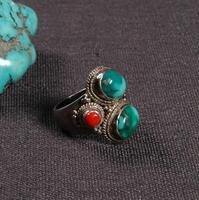 #8,25 ручной работы непальское 925 Серебряное кольцо 925 пробы удача кольцо тибетское 925 Серебряное богемское кольцо
