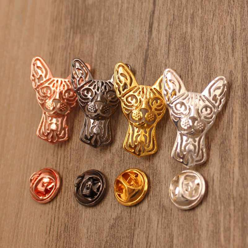 Mdogm 2019 Sphynx Cat Animal Brooches And Pins Coat Suit Metal Small Father Collar Badges Gift For Female Male Men BT001