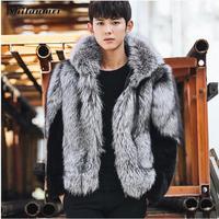 2018 На зимнем меху куртка плюс Размеры теплая верхняя одежда с длинными рукавами мужские с капюшоном пальто с мехом лисы Пальто 4xl 3xl плюс Раз