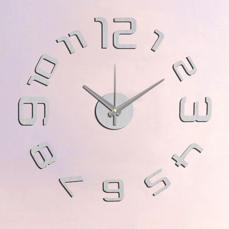 Nový příchod 10EM109S Moderní módní nálepka EVA kuchyňské nástěnné hodiny Stříbrné číslice velké dekorativní 3d diy nástěnné hodiny velké