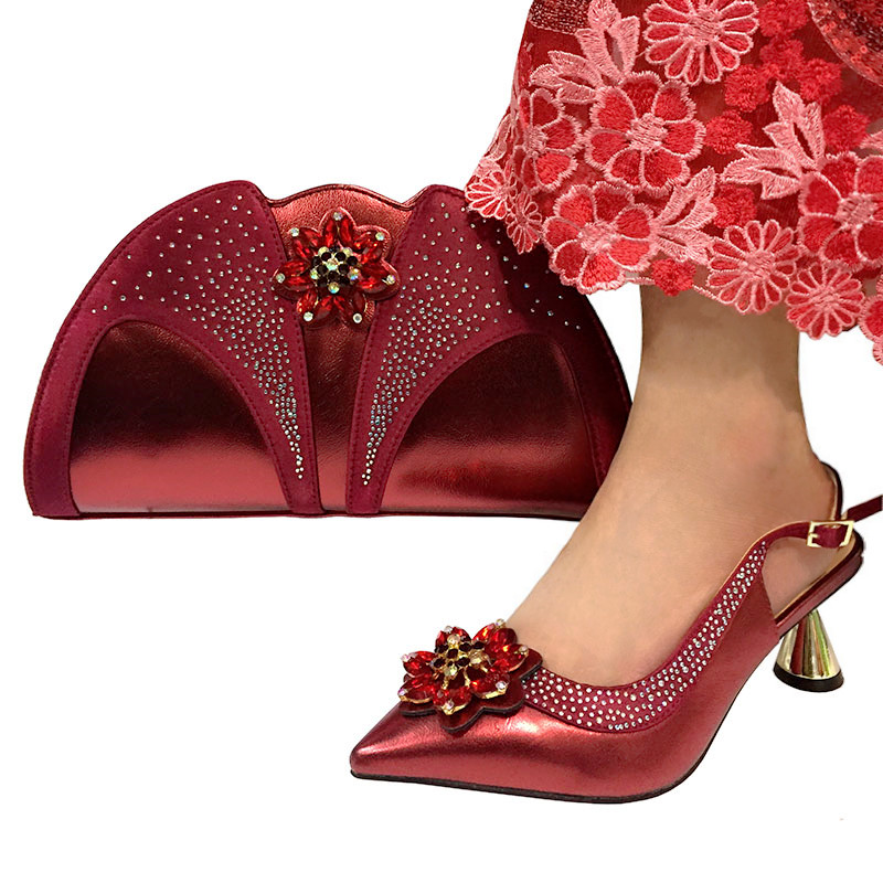 Wine Color Fashion Italian Design Shoes And Bag Set Top Selling African Woman High Heels Party