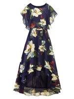 New Dress Maxi Women Plus Size Bat Sleeve Chiffon Print Vintage Irregular Dress With Belt