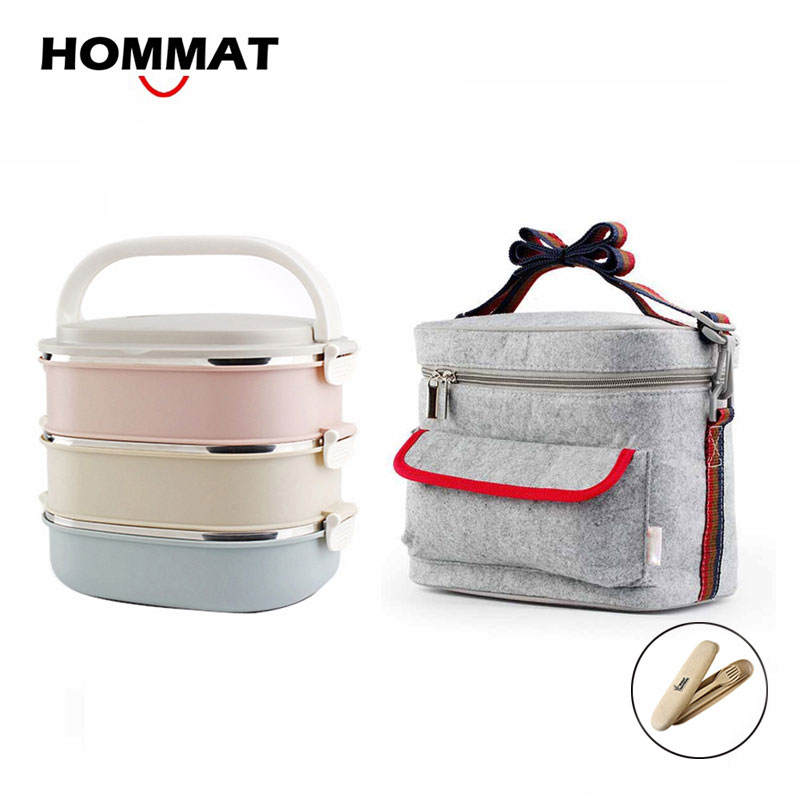 3 layer stainless steel metal bento lunch box japanese food box insulated lunchbox thermal. Black Bedroom Furniture Sets. Home Design Ideas