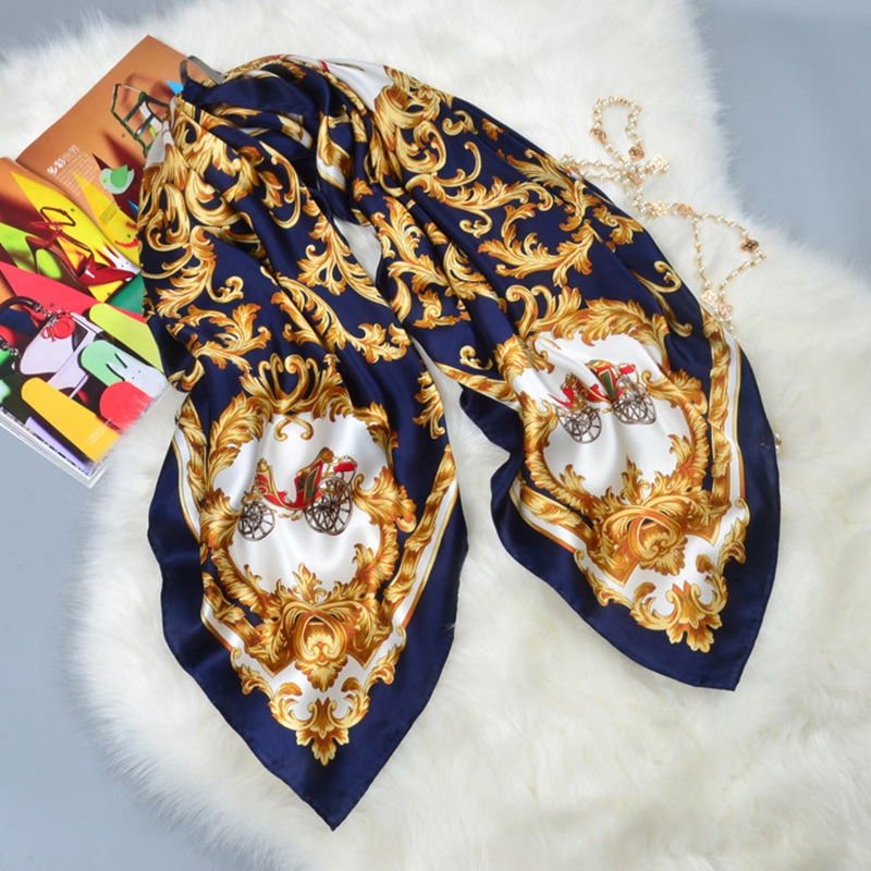 Carriage Print Large Square Silk Scarf Shawl Bandana Hijab Women 100% Silk Scarf Wraps Luxury Hand Rolled 106x106cm Gifts